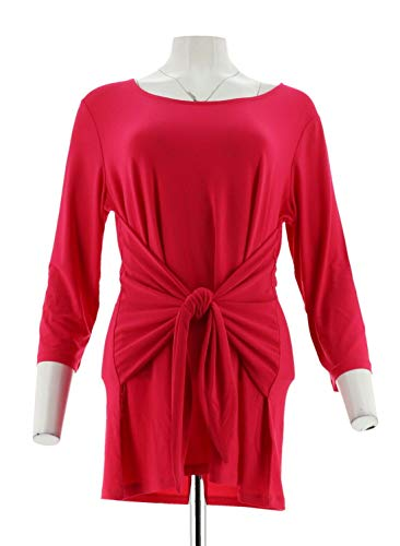 Attitudes Renee Como Jersey 3/4 SLV Tie-Front Top Rose Petal L New A306479 from Attitudes by Renee