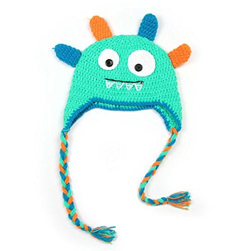 Qandsweet Baby Boys and Girls Monster Handmade Knitted Hat (Green)