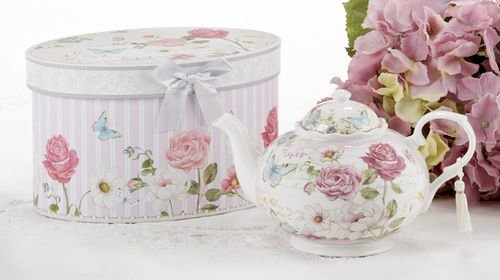 Delton Products Pink Grace Pattern Porcelain Teapot with Matching Keepsake Box -