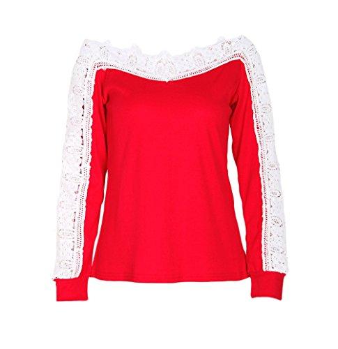 Casual Classico Cucitura Fit Elegante Girocollo Tshirt Camicie Camicia Semplice Camicetta Rosso Donna Maglietta Slim Moda Pizzo Autunno Haidean Glamorous Blusa Manica Partito Lunga Invernali aU6Pxn