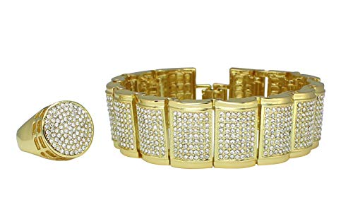 NewAgeBling Mens 2pc Iced Out Dome Bracelet Round Ring Set 14k Gold Plated Hip Hop Fashion (10)