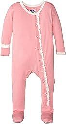 KicKee Pants Baby Girls Solid Ruffle Footie Prd-kprf907-lnat, Lotus, 6-12 Months