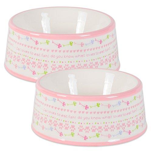 2 Bowl Set - Bone Dry DII Ceramic Medium Pet Bowls For Food & Water, 5