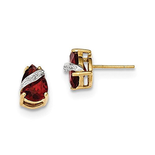 14k Yellow Gold Garnet and Diamond (Nina Garnet Earrings)
