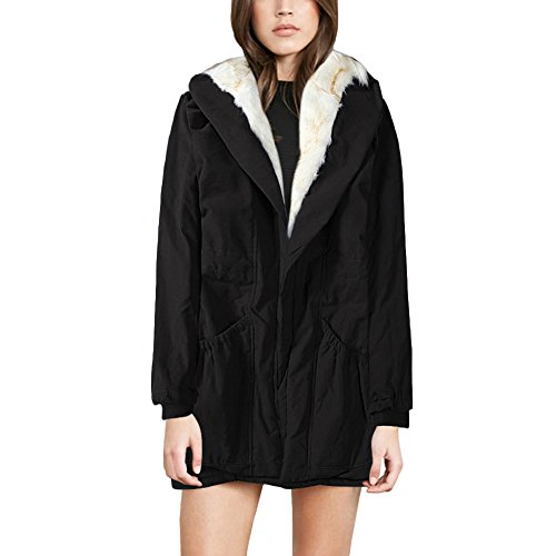 Warm Plus Size Fur Long Hooded Black KUTLIF Faux Women's Sleeved Outerwear Winter Parka Coats Thick 1xPFEA