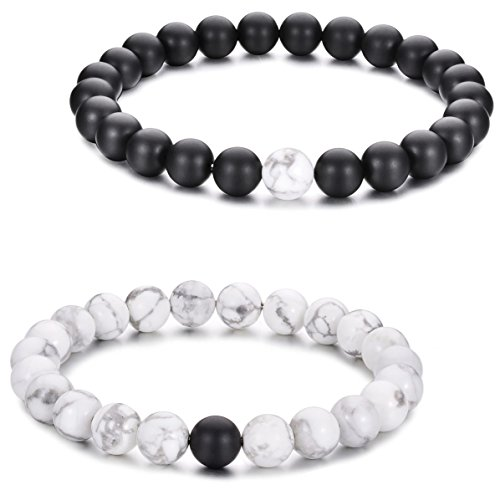 (ZX Fashion Couples His and Hers Bracelet Black Matte Agate & White Howlite 8mm Yin Yang Beads Bracelet (2pcs))