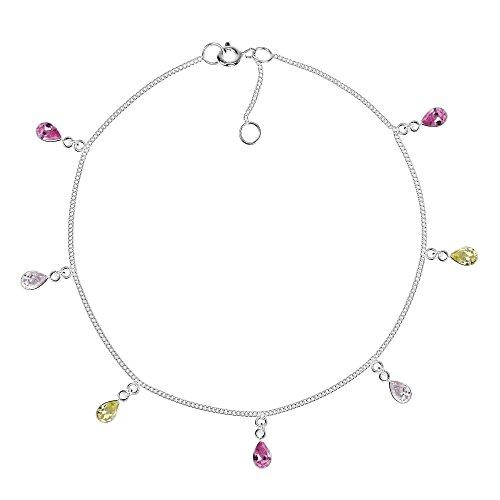 - AeraVida Teardrop Dangle Multicolor Cubic Zirconia .925 Sterling Silver Link Anklet
