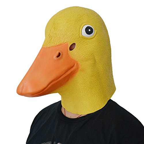[LarpGears Deluxe Novelty Halloween Latex Duck Mask Adult Size Yellow] (Duck Costumes Adult)