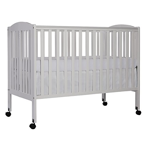 (Dream On Me Full Size 2 in 1 Folding Stationary Side Crib, White)