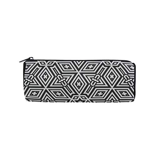 Geometric Square Pattern Students Super Large Capacity Barrel Pencil Case Pen Bag Cotton Pouch Holder Makeup Cosmetic Bag for Kids