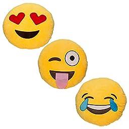 Babyhaven Emoticon Novelty Emoji Stuffed Pillow, 3 Pack, Popular Picks