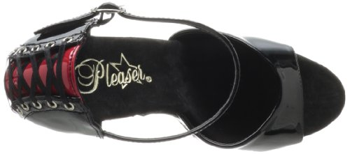 Pleaser Delight-660fh - Sandalias de tobillo Mujer Negro (black-red/black)