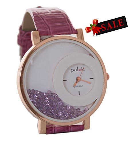 Stainless Steel Diamond Watch (Watch Wrist for women valentine day deal - Fashion Crystals Trim Double Dial factory/quartz watch stainless steel /diamond watch)