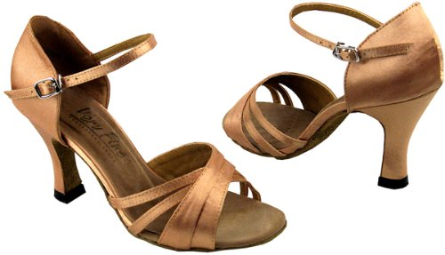 Very Fine Women's Salsa Ballroom Tango Latin Dance Shoes Style 6030 Bundle with Plastic Dance Shoe Heel Protectors,Color GoldBrownSatin, Size:5.5
