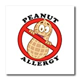 3dRose HT_119140_2 Cute Peanut Allergy Cartoon Anti-Peanut Warningwith Text Iron on Heat Transfer, 6 by 6-Inch, For White Material