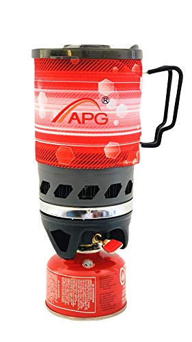 (APG Mini 2-Color Camping Stove Cooking System, Propane Butane Stove Outdoor Hiking Camping Backpacking Portable Gas Stove Burner Solostove for Fast Boiling Fuel-Efficient Flash Cooking, 0.9-Liter)