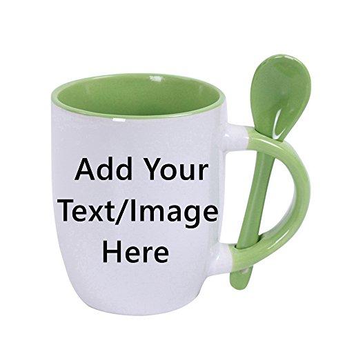 - Custom Ceramic Coffee Mugs With Spoons - 10 Ounce -Personalization Tea Cup Mug Creative Gifts (-Green)