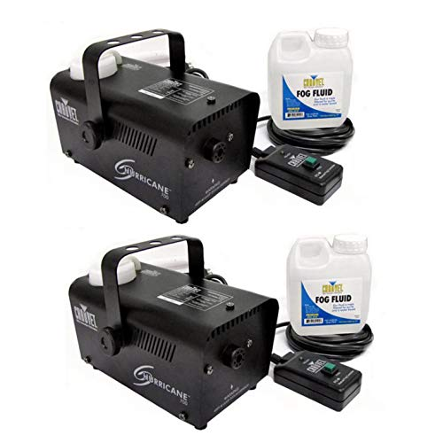 Chauvet DJ Hurricane Pro Fog Smoke Machine with Fog Fluid and Remote (2 Pack) ()