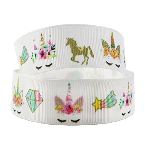 1 METRE UNICORN DIAMOND HORSE WHITE PINK CARTOON RIBBON 1