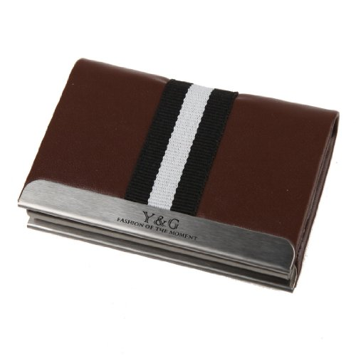 YDC02A02 Brown Play Groomsmen Leather Elastic Card Case Xmas Day By Y&G (Holder Card Xmas)