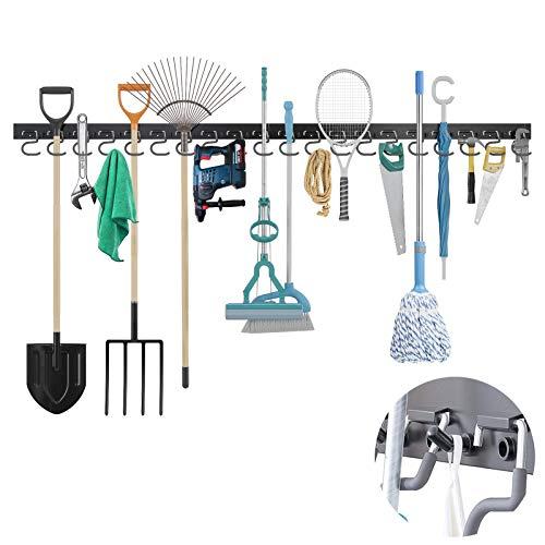 TORACK Garage Organization with 16pcs Hooks & 20pcs Pins, 64inch Garage Tool Organizer Wall Mount Mop Broom Holder