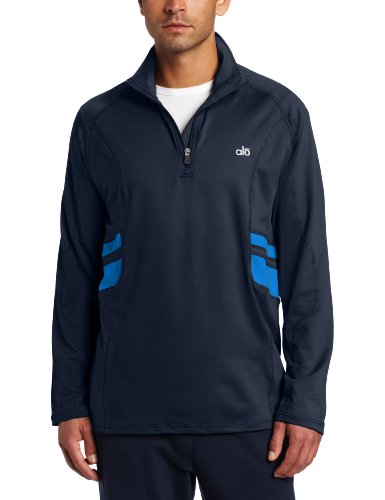 Alo Yoga Men's Training Half-Zip Pull Over Sweatshirt, Obsidian/Olympic Blue, Large