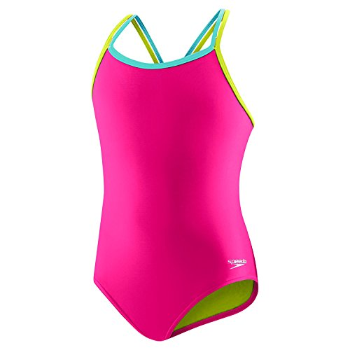 Speedo Criss Cross One Piece Swimsuit, Electric Pink, Size 7