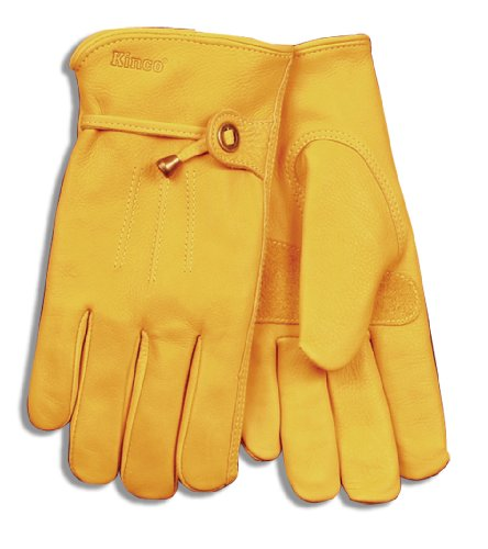 Kinco 199 Unlined Premium Grain Cowhide Leather Driver Glove with Pull Strap and Metal Buckle, Work, Large, Golden (Pack of 6 - Buckle Cowhide