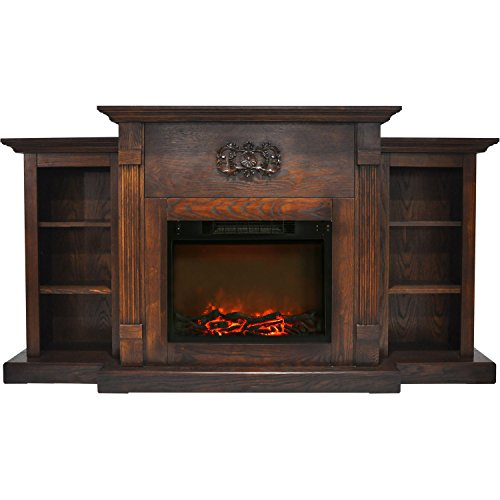 Cambridge CAM7233-1WAL Sanoma 72 in. Electric Fireplace in Walnut with Built-in Bookshelves and a 1500W Charred Log (Cambridge Electric Fireplace)