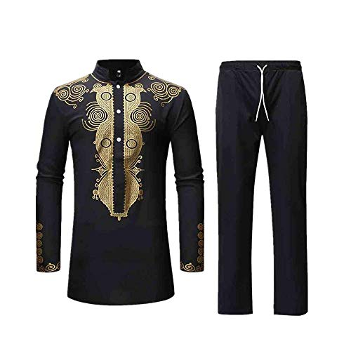 (Realdo Mens Long Dashiki Set, 7Pcs Men's West African Traditional National Hot Gold Printed T-Shirt Pants)