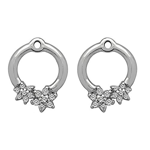 1/7 ct. Charles Colvard Created Moissanite Moissanite Flower Earring Jackets in Sterling Silver (0.13 ct. twt.) by TwoBirch