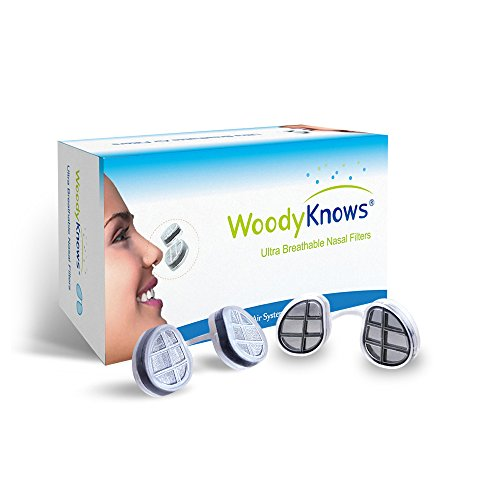 WoodyKnows Ultra Breathable Nasal Filters, Relieve Hay Fever, Pollen, Dust, Pet Hair, Dander Allergens Allergy, Alternative to Nasal Spray(2 Frames+6 Pairs of Spare Filters, III-R, Round Nostrils)