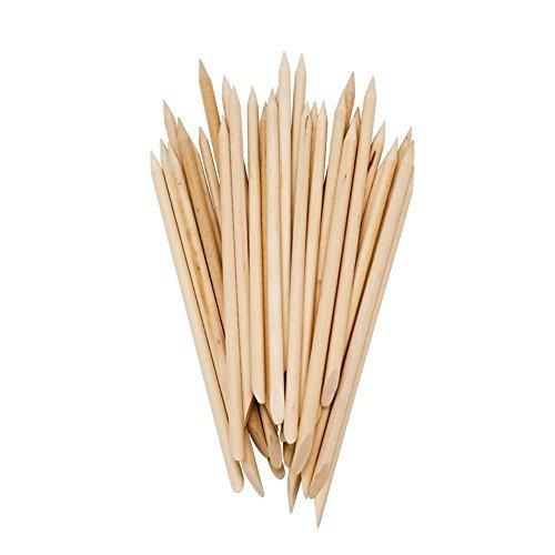 Lot de 50 batons en bois à deux extrémités pour repousser les cuticules 5Five