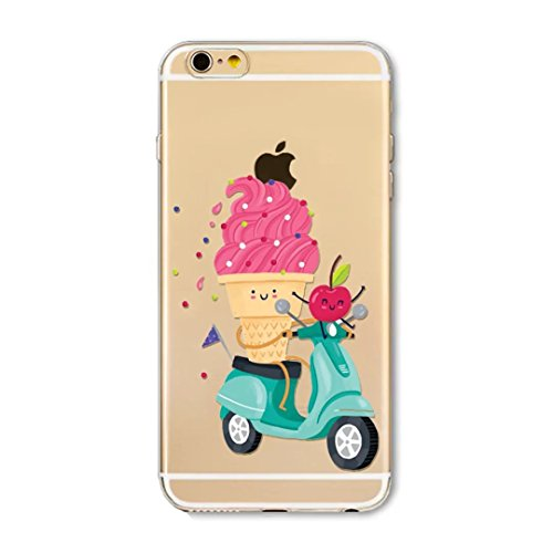 KSHOP iPhone SE / iPhone 5 / iPhone 5s Case Protective Case Mobile Phone Soft Silicone Case Scratch Resistant Case, Scratch Resistant Case TPU Case Protector Silicone Crystal Clear Case, Beautiful Belt Case Bumper Cup - Motorcycle Apple Strawberry Ice Cream, Cones