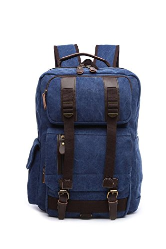 Women's Canvas Travel Bag Student Drawstring Bucket Backpack (Beige) - 8