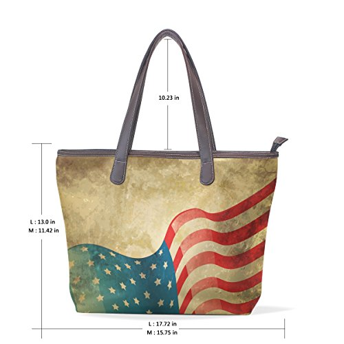 Hand Multicolor 33x45x13 Period Bag L Flags Pu Tote Coosun 002 Shoulder Handle American Leather Large Bag Cm vwBOxRZOq
