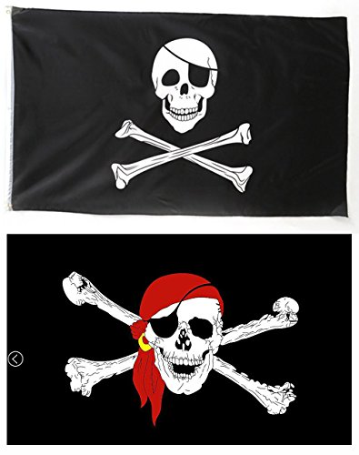 (Pirate Skull Flag, TOWEE 3 x 5 Ft 100% Polyester Jolly Roger Flag with One Eye + Red Bandana Pirate Flags with Metal Rings for Boating, Garden, Bar, Ghost House, KTV, Halloween and Christmas Flags)