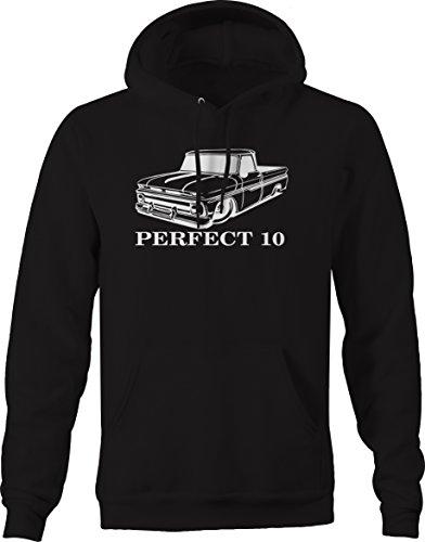 Bold Imprints Perfect 10 Chevy C10 GMC Fleetside 1960s Pickup Truck Hooded Sweatshirt, Black, Large