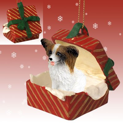 Eyedeal-Figurines-Papillon-Dog-Brown-Sits-in-a-Red-Gift-Box-Christmas-Ornament-New-RGBD47A