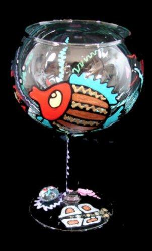 BELLISSIMO! G-0997-STEM Hand Painted Fantasy Fish Design 12.5 oz. Goblet