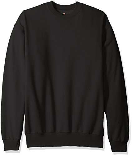 Hanes Men's EcoSmart Fleece Sweatshirt, Black, Small Black Crewneck Sweatshirt