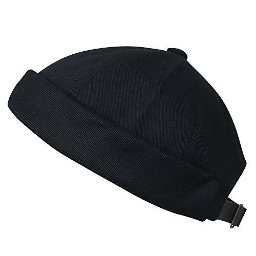 ililily Solid Color Cotton Short Beanie Strap Back Casual Cap Soft Hat, Black (Trawler Beanie)
