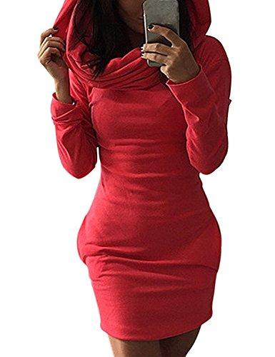 Minetom Mujer Sudadera con Capucha Bodycon del Suéter Jersey Pulóver Camisa Larga Mini Vestidos Rojo