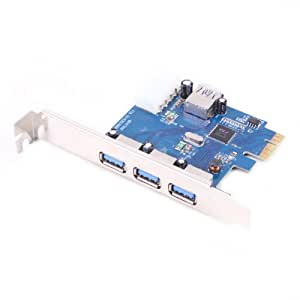 HDE USB 3.0 SuperSpeed PCI Express Internal Upgrade Card, 3 + 1 Ports - Supports Windows 7, Vista, XP
