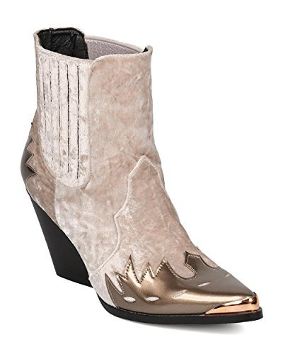 CAPE ROBBIN Women Mixed Media Pointy Toe Flame Pattern Cowboy Bootie HJ88 - Champagne Mix Media (Size: 9.0)