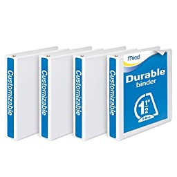 Mead 3 Ring Binder, Durable, Customizable, 1.5 Inch D Ring, 4 Pack, White (W465-34WPP)