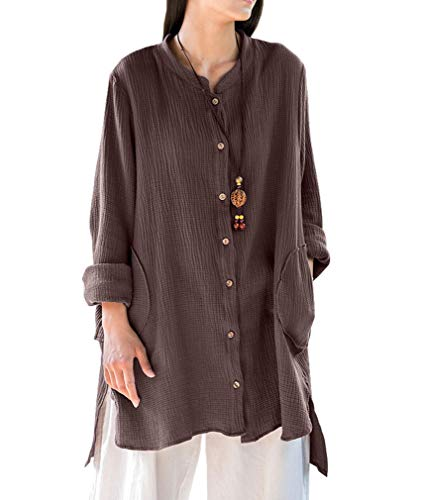 Soojun Women's Loose Fit Button Down Linen Cotton Cardigan Shirts Coat Coffee,Coffee,One Size