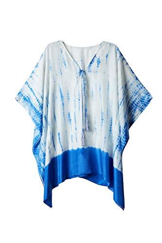 Indigo Paisley Elena Silk Tie Dye Kaftan | Beach Coverup with Handmade Beaded Tassels ()