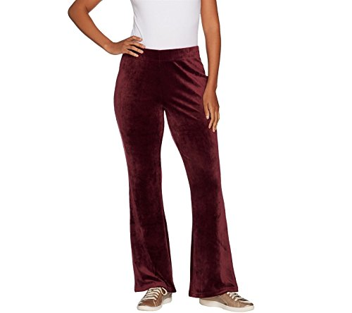 AnyBody Loungewear Petite Velour Flare Leg Pants Elastic Wine PXL New A297304 ()