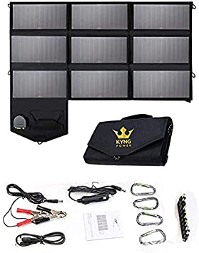 KYNG 60W Portable Solar Panel Solar Charger Foldable Power Portable 60 Watts Charger Solar Generator Panel Power Station Use with Any Brand 18V Charging 5V USB 12V car Charging/Camping, Emergency,